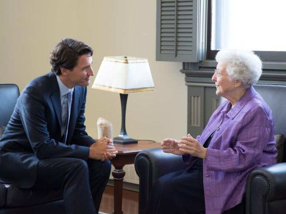 Sister Louise Dunn meets with PM Justin Trudeau on July 2016.